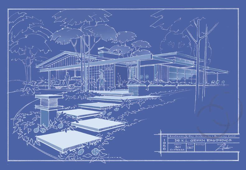 Mid century art for Print architectural drawings